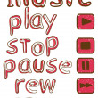 Button words for musical player — Stock Vector