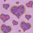 A seamless pattern with violet heart and flowers background — Stock Vector