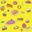 Seamless sweet cake pattern — Stock Vector