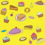 Seamless sweet cake pattern — Stock Vector