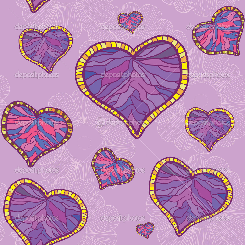 A seamless pattern with violet heart  and flowers background  Stock Vector #10514632