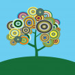 Vector psychedelic tree with circles — Stock Vector