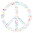 Peace symbol word - Stock Vector