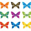 Vector set with bright butterflies — Stock Vector
