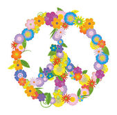 Vector peace symbol made from flowers on white background — Stock Vector