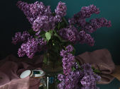 Still life with lilac flowers — Stock Photo