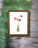 Frame with red poppies — Stock Photo