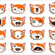 Set of 16 smiley kitten faces - Stock Vector