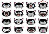 Set of 16 smiley kitten faces — Stock Vector