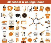 40 school and college icons — Stock Vector