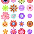 Stock Vector: 20 colorful flower icons