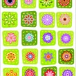 20 colorful patchwork flower icons — Stock Vector