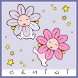 Baby birth greeting card with starsign — Stock Vector #10650190