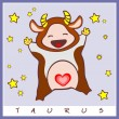 Baby birth greeting card with starsign — Stock Vector