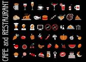 Food and drink icons set black background — Stock Vector