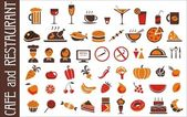 Food and drink icons set white background — Stock Vector