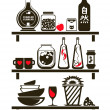 Kitchen Shelves Sticker — Stock Vector