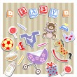 Stock Vector: Baby Birtn Greeting Card