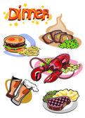 Dinner Menu Pictures — Stock Vector