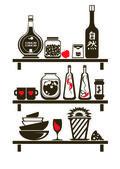 Kitchen Shelves Sticker — Stock Vector