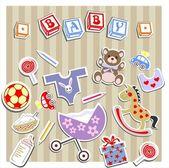 Baby Birtn Greeting Card — Stock Vector