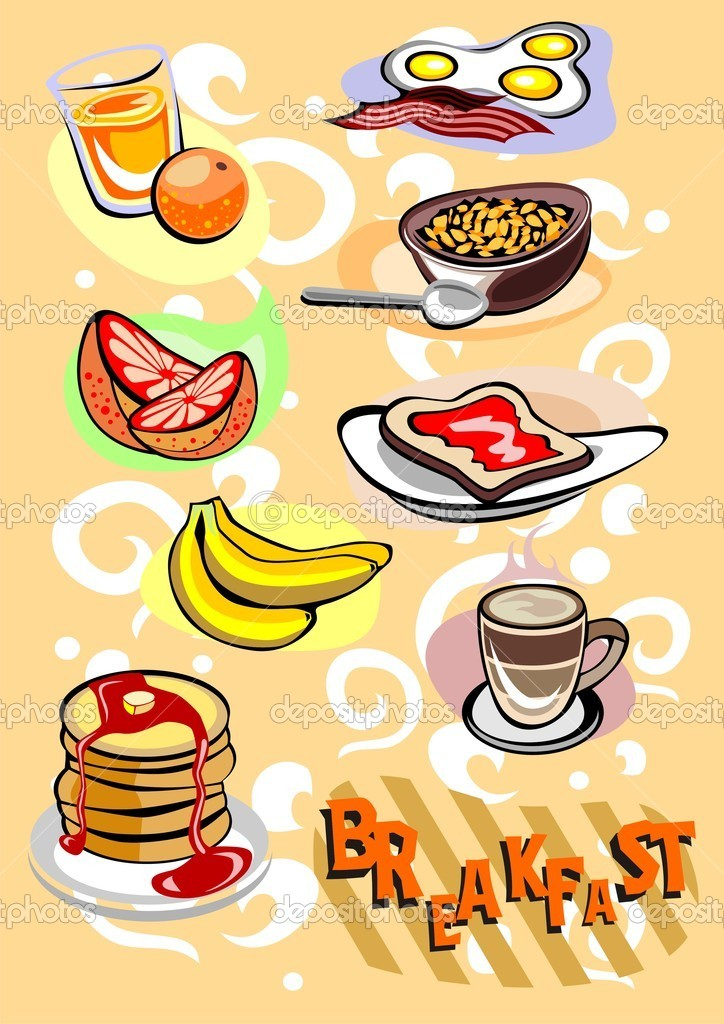Breakfast Menu Different Food and Drinks Pictures  Stock Vector #9019179