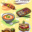 Different Pictures of food for lunch — Stock Vector