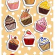 Stock Vector: Nine delicious colorful cupcakes