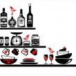 Wall stickers black and red kitchen shelves - Stock Vector