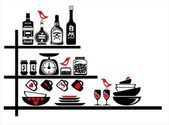 Wall stickers black and red kitchen shelves — Stock Vector