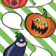 Funny vegetables with speech bubbles — Vector de stock