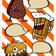 Funny steak beer and burger — Imagen vectorial