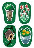Four garden stickers — Stock Vector