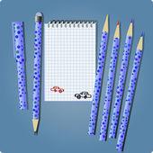 Blue set for drawing — ストックベクタ