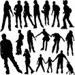 Rollerskating silhouettes — Stock Vector