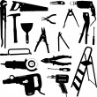 Tools silhouettes — Stock Vector