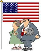 Couple Pledging Allegiance — Stock Photo