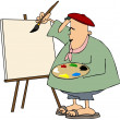 Foto Stock: Artist Painting On Blank Canvas