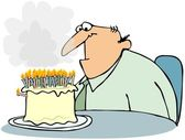 Cake With Too Many Candles — Stock Photo