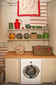 Showcase of interior with a washing machine — Foto Stock