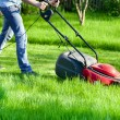 Man with lawnmower — Stock Photo