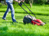Man with lawnmower — Stockfoto