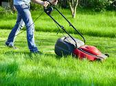 çim biçme makinesi ile adam — Stok fotoğraf