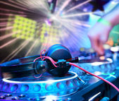 Dj mixes the track — Stock Photo