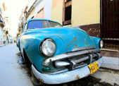 Classic old car is blue color — Stock Photo