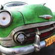Classic old car is green color — Stock Photo