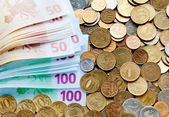 Variety of coins and euro banknotes — Stockfoto