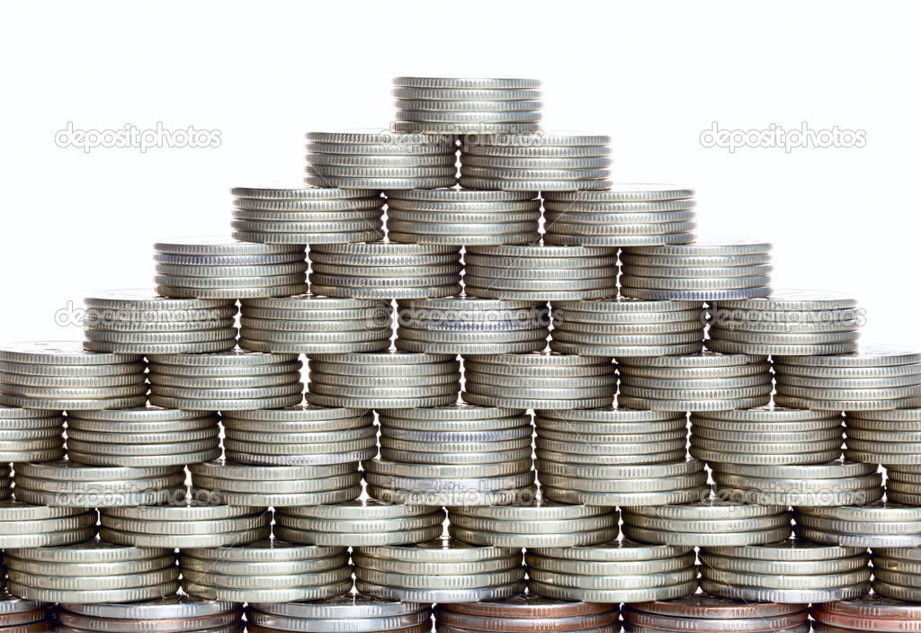 Pyramid of the coins isolated on white background — Stock Photo #9187568