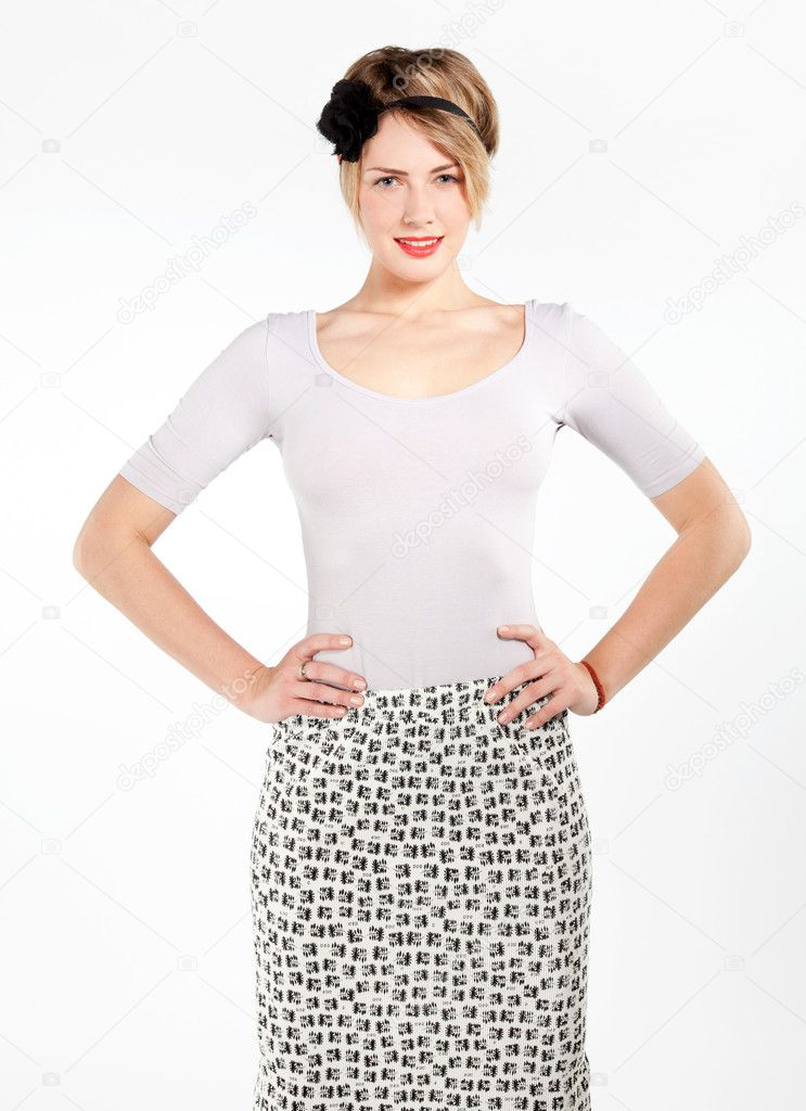 Attractive smiling woman portrait on white background  Stock Photo #9187596
