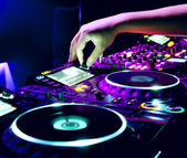 Dj mixes the track — Foto Stock